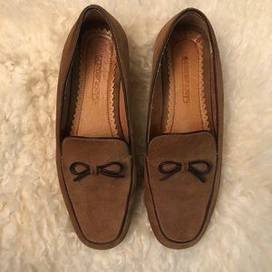 Lands End Tan Suede Loafers, Size 8.5